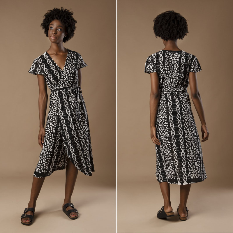 Mayamiko 'Dalitso' Maxi Wrap Dress in Black and White DNA