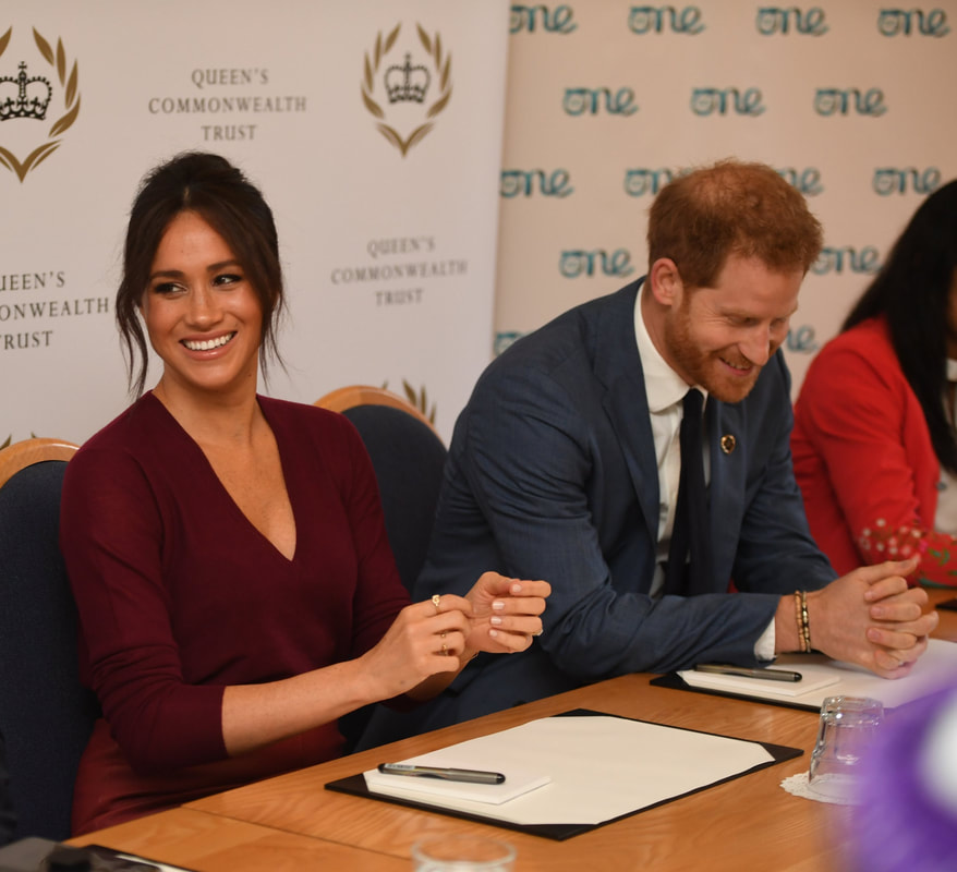 Duchess of Sussex and Prince Harry at a roundtable discussion on gender equality with The Queen's Commonwealth Trust (QCT) and One Young World at Windsor Castle.