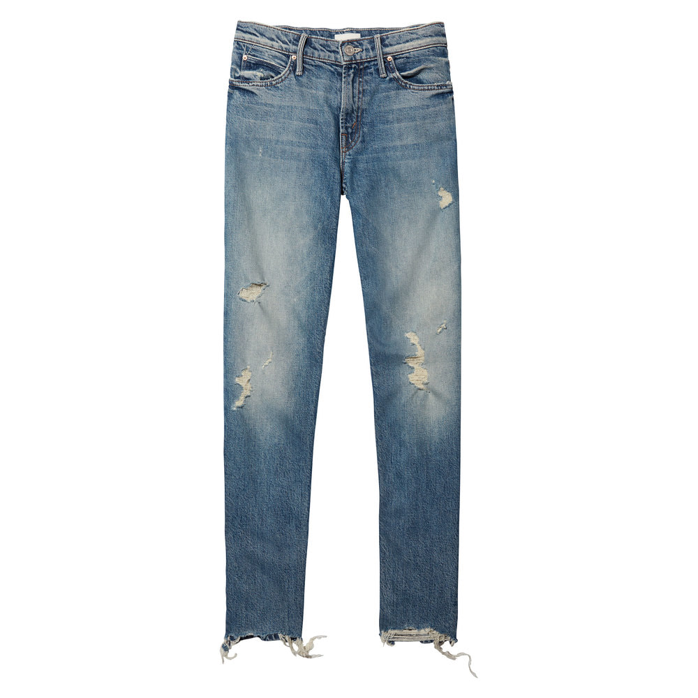 Mother Denim The Flirt Fray Jeans in Cold Feet
