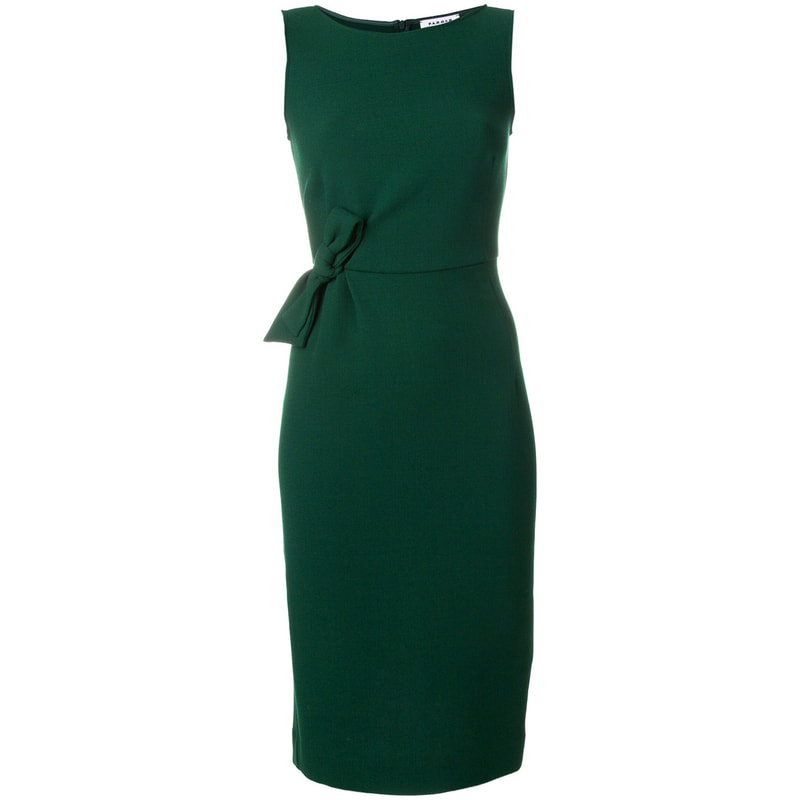 P.A.R.O.S.H 'The Megan' Green Fitted Bow Detail Engagment Dress