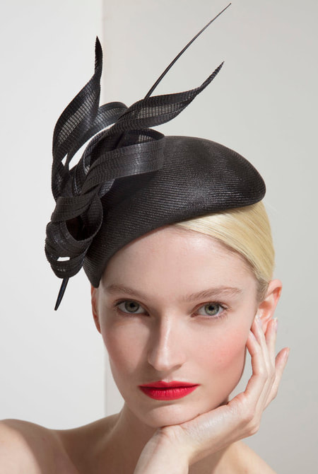 Philip Treacy black straw hat from SS18 Collection