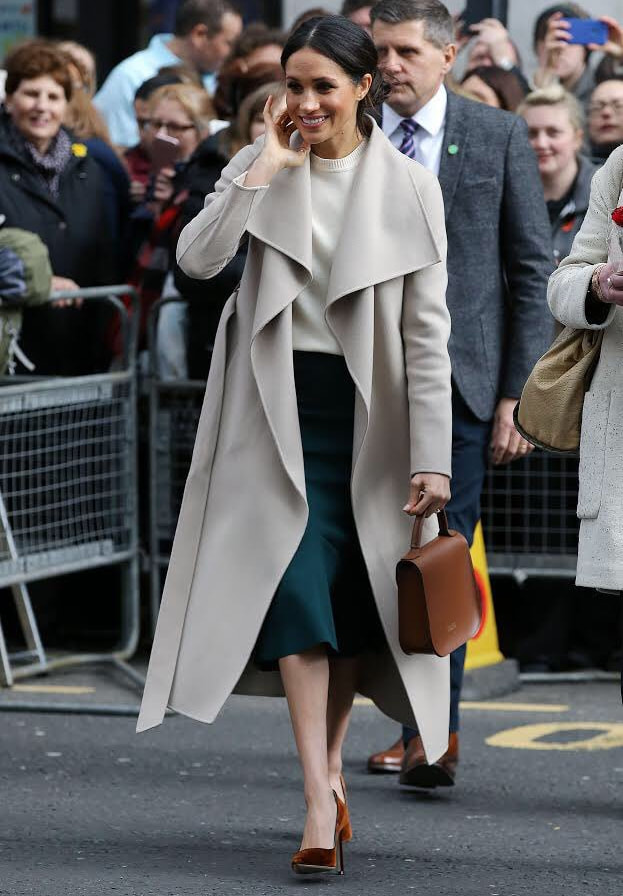 Meghan Markle wearing Mackage waterfall coat in Belfast, Northern Ireland