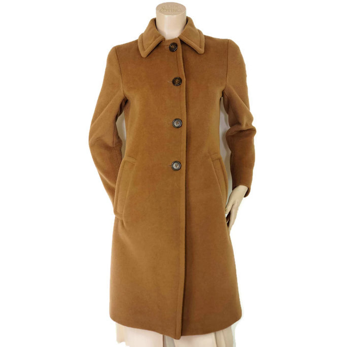 Prada Camel Button Front Wool Coat