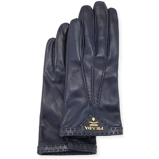 Prada Dark Blue Navy Leather Gloves