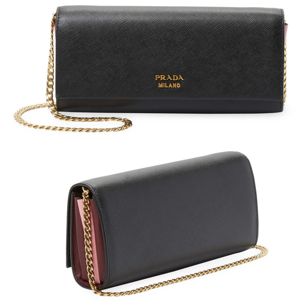 Prada Biblioteque Saffiano Leather Chain Clutch Bag
