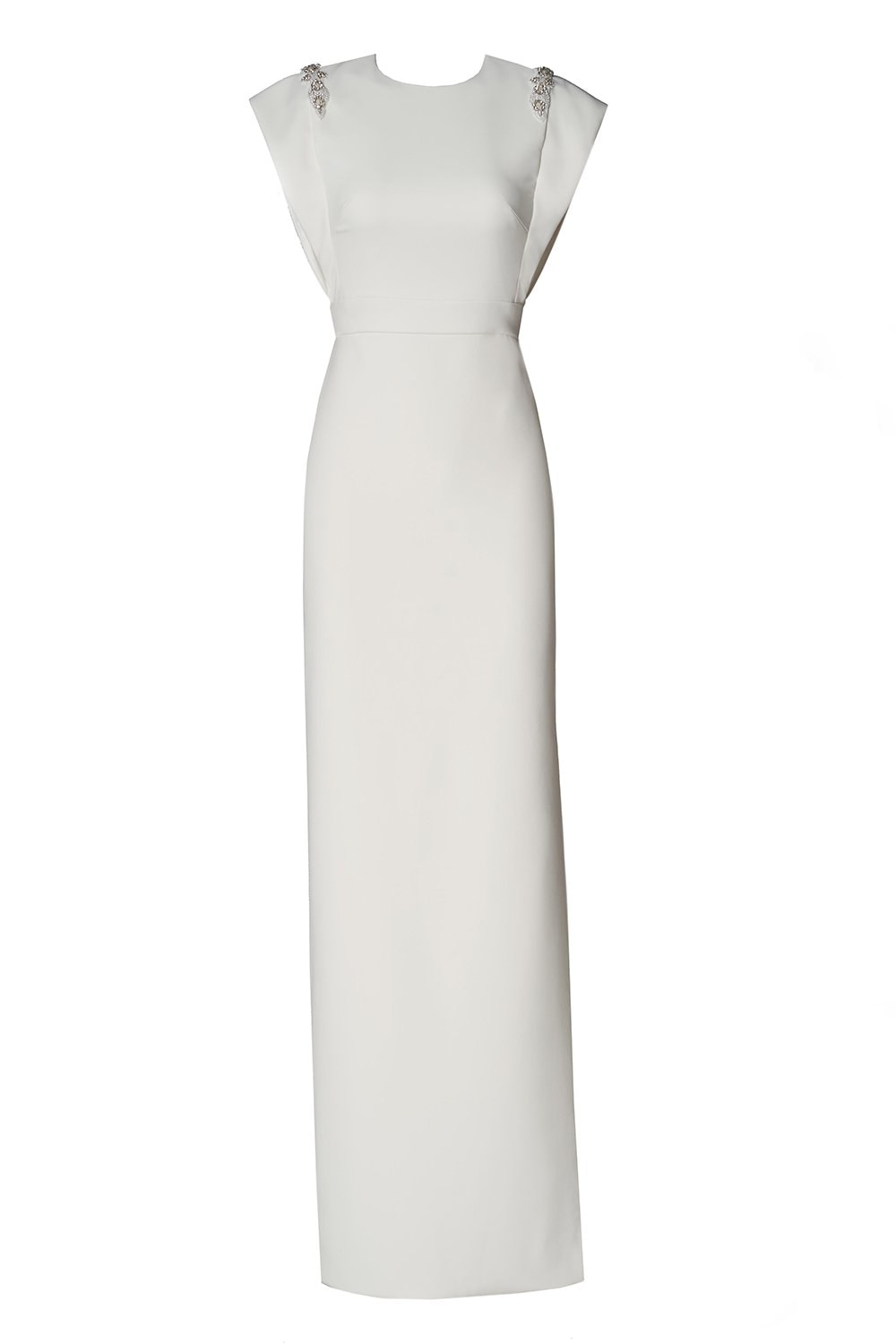 Theia Cap-Sleeve Beaded Crepe Column Gown