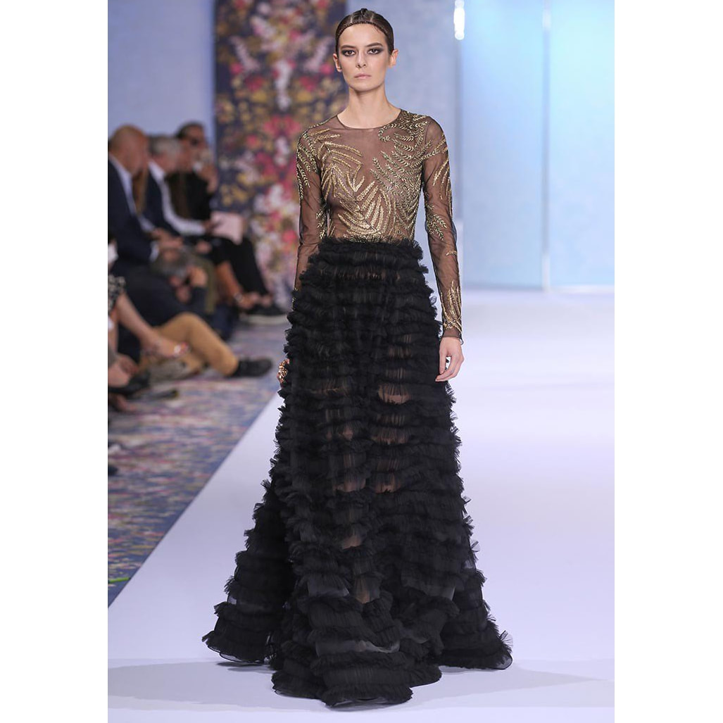 Ralph and Russo Black and Gold Tulle Engagement Gown