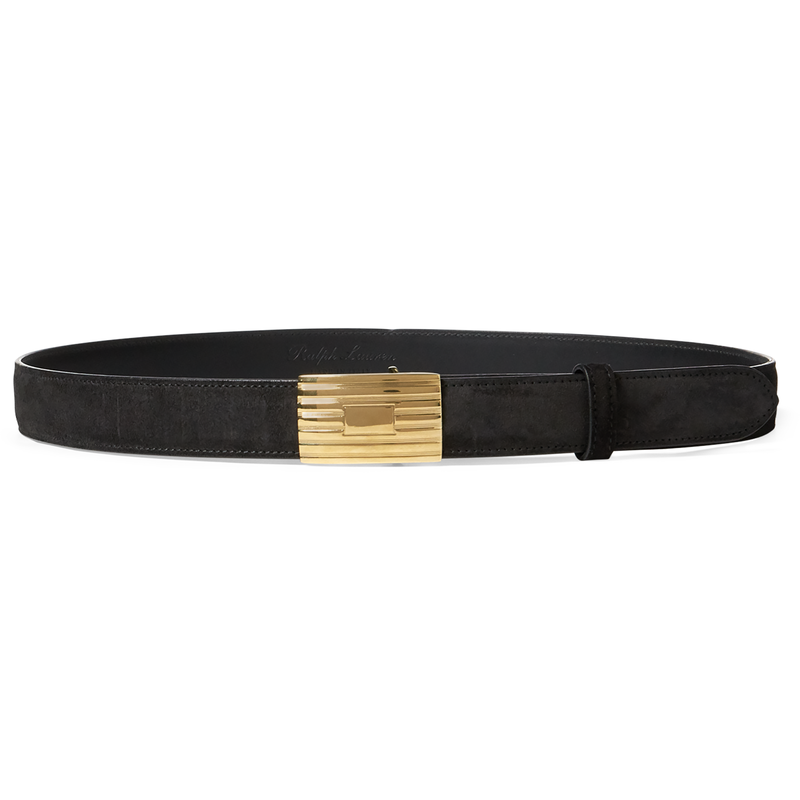 Ralph Lauren Women's Black Engine-Turn Suede Belt