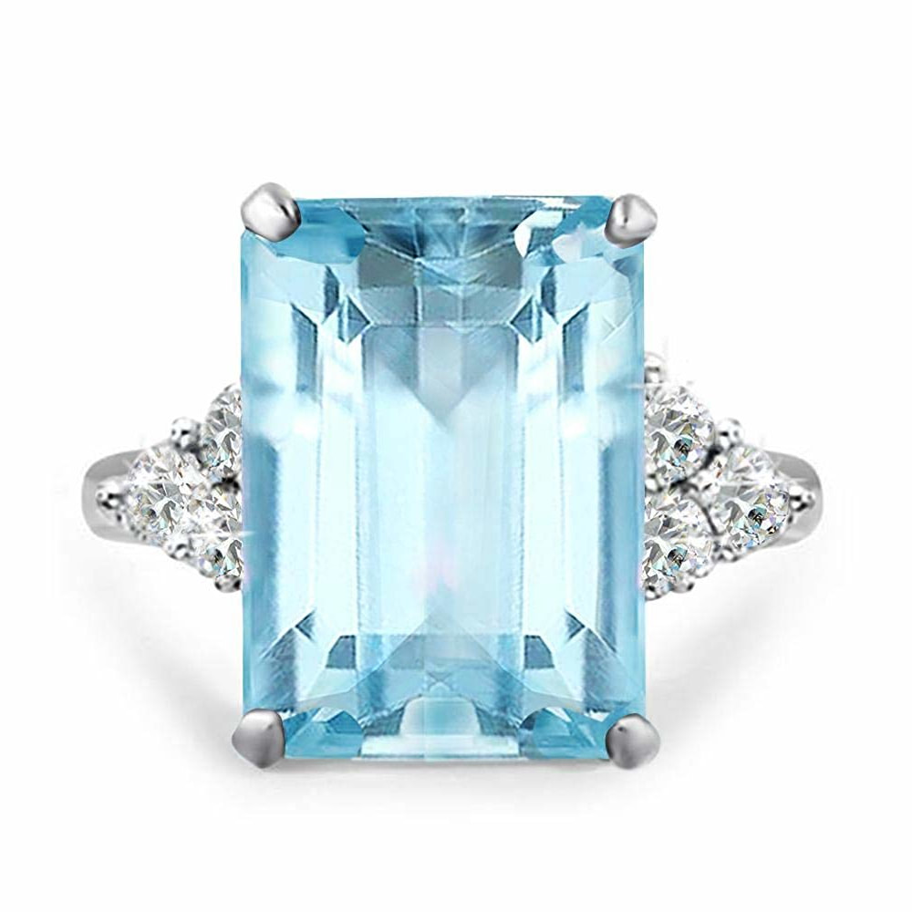 12++ Meghan Markle Diana Aquamarine Ring