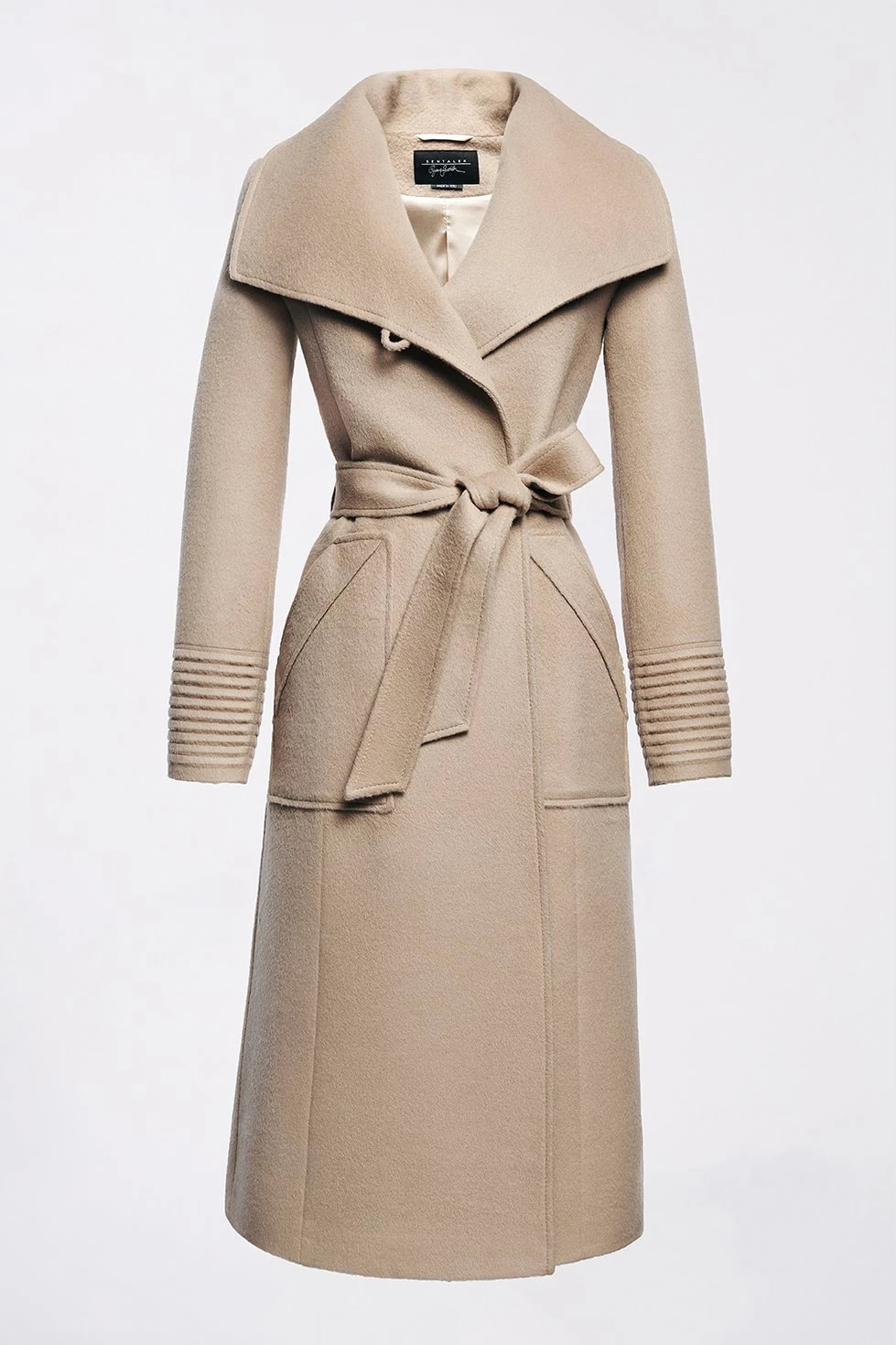 SENTALER Camel Long Wide Collar Wrap Coat