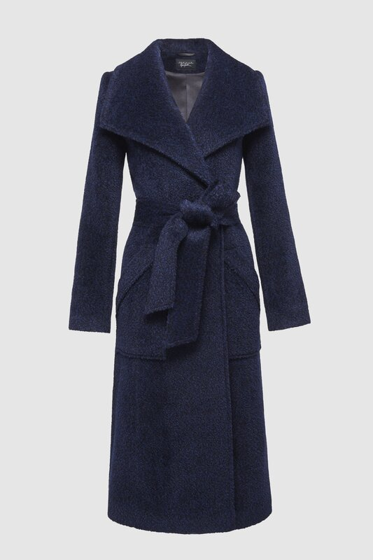 Sentaler midnight blue boucle alpaca coat