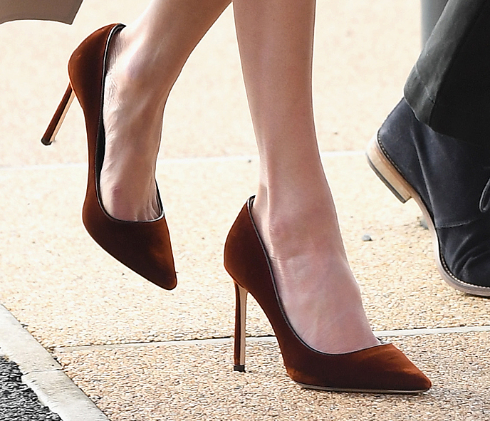 Jimmy Choo Romy 100 pumps in burnt orange velvet as seen on Meghan Markle in Belfast