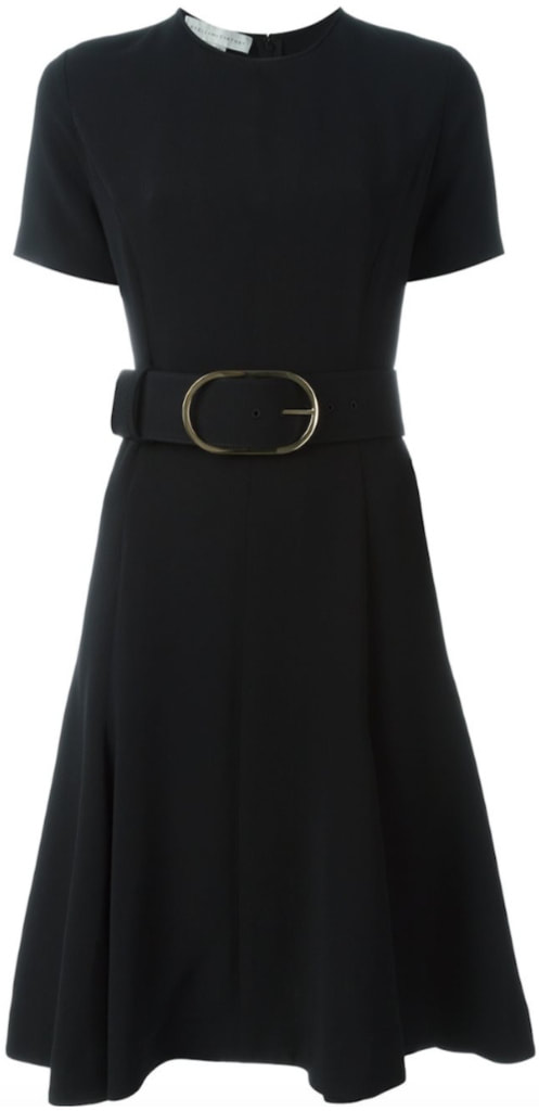 Stella McCartney black short sleeve belted dress