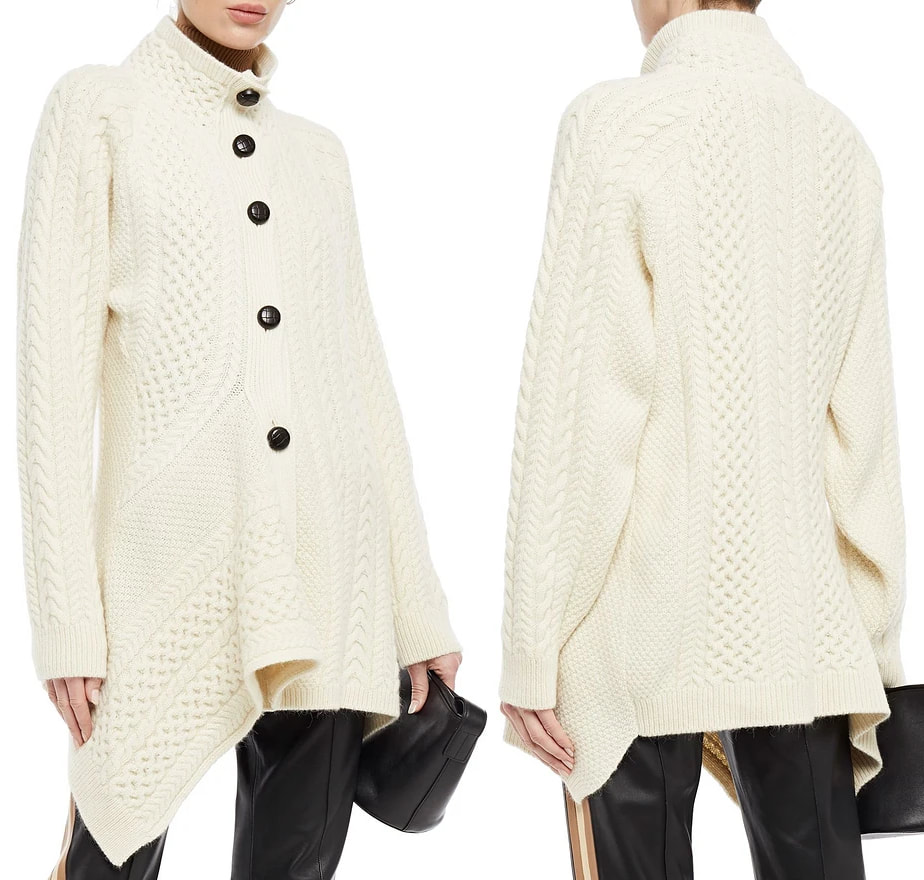Stella McCartney Draped cable-knit wool and alpaca-blend cardigan