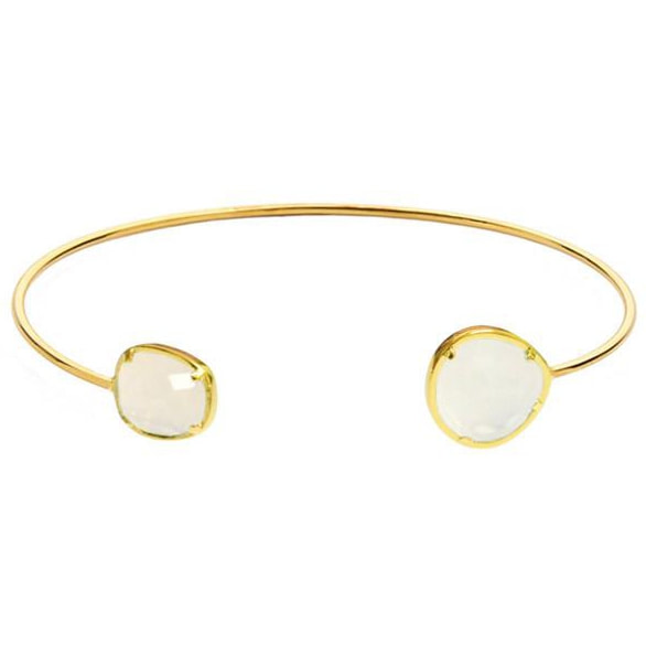 Tai Asymmetrical Circle Moonstone Open Bracelet