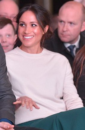Victoria Beckham Cashmere Crewneck Sweater as seen on Meghan Markle in Belfast