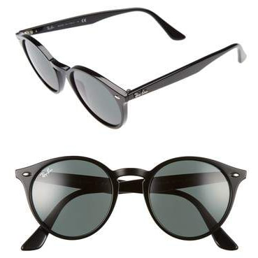 Ray-Ban Black Highstreet 51mm Round Sunglasses RB2180