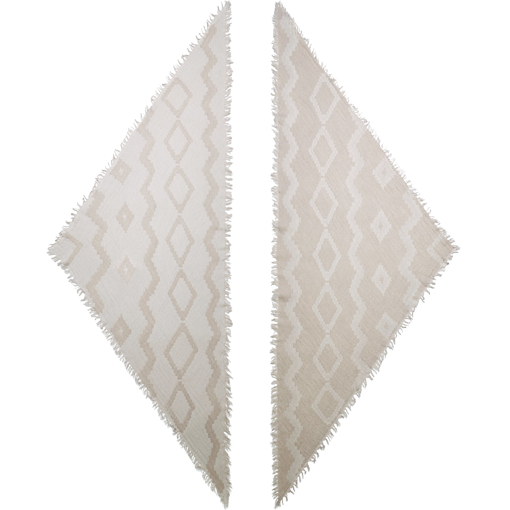 Wilfred Diamond Mosaic Reversible wool triangle scarf in Birch/Grey