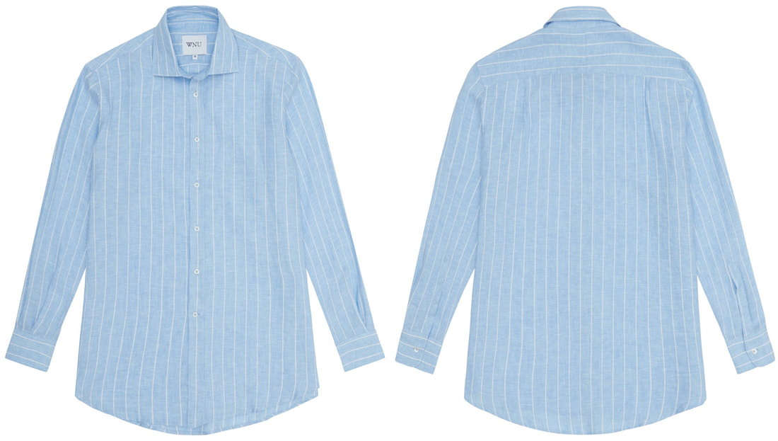 WNU ​sky blue & white stripe linen shirt