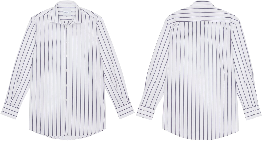 WNU Poplin White & Midnight Blue Stripe Shirt